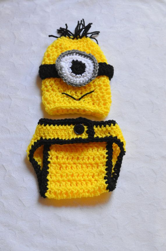 Despicable Me Minion Crochet Outfit. Newborn Halloween Costumes. Baby Boy Halloween Costumes on Etsy, $19.49