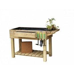 Mesa huerto urbano en madera para cultivo hortalizas ecológicas con todos los complementos