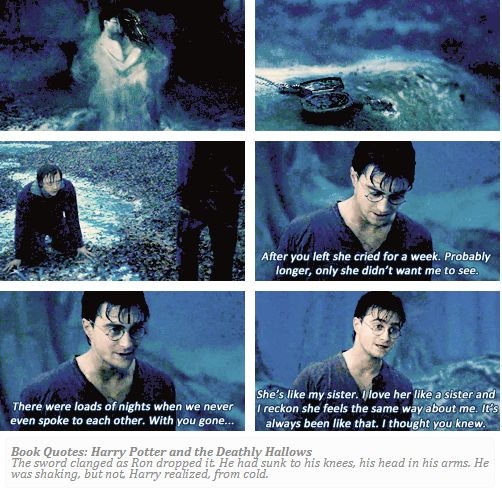 When Ron left. I loved this part. I was so sad they cut such great dialogue between Harry and Ron in the movie.