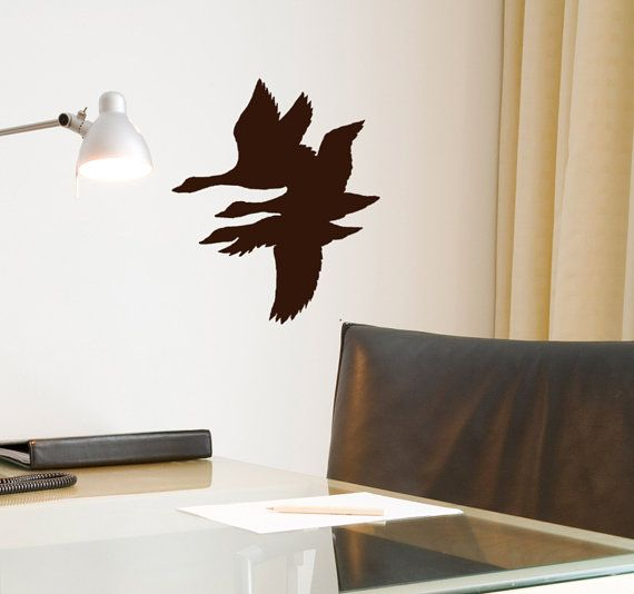 Flying Duck Wall Decal hunting decor, lodge retreat decoration, hunters cabin, vinyl sticker on Etsy, $13.00