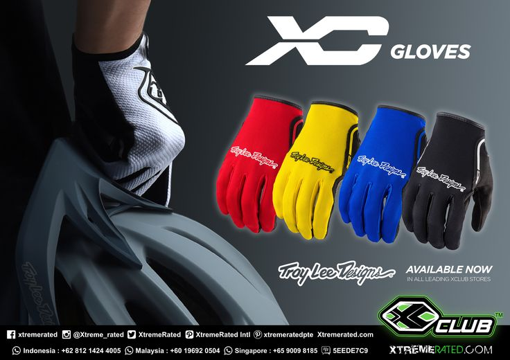 TLD XC GLOVES | combination of stretch spandex and Airprene material make the XC a fantastic, lightweight, all-purpose glove that is great for both motorcycle and bicycle riding |  Available Now in all XClub leading stores | tinyurl.com/ybbryx9c |  #xtremerated #xclub #troyleedesigns #motocross #mtb