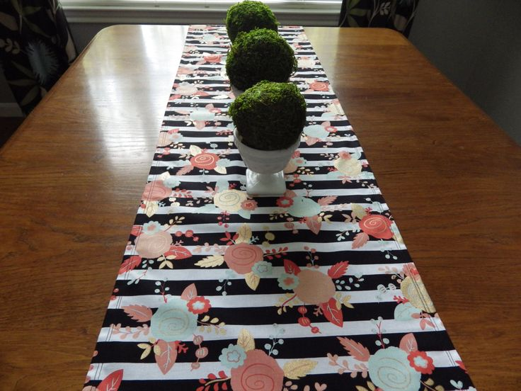 Modern White,Mint,Coral,Black and Gold Stripe and Floral Table Runner-Table Runner for Shower- Table Runner for Tea Party by thehappyseamstress on Etsy https://www.etsy.com/listing/249572484/modern-whitemintcoralblack-and-gold