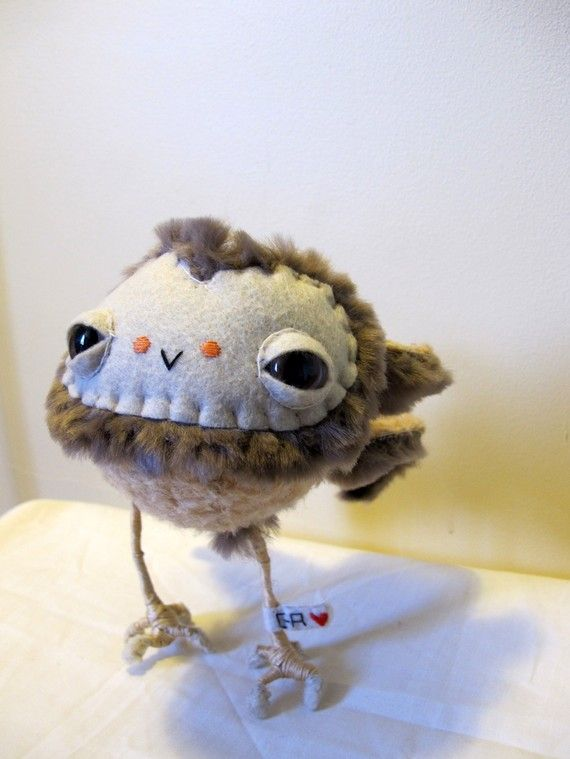 Bird funky fluffy owl plush soft toy he's so weird he needs someone to love him