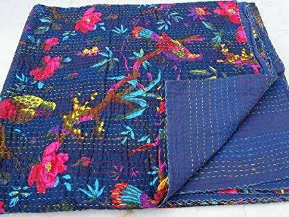 Indian bird kantha quilt cotton handmade bohemian king bedding bedspread blanket