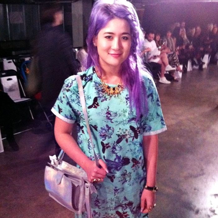 At New Zealand Fashion Week's Company of Strangers show with Emily - she's wearing Stolen Girlfriends Club + our Holographic Astra x