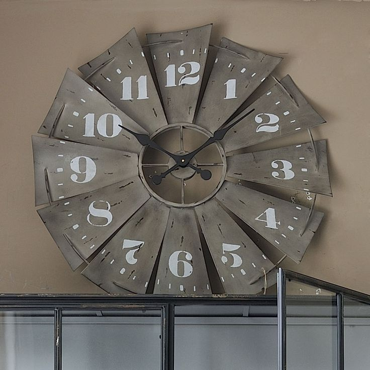 A rustic windmill clock.