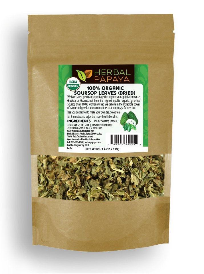 100% Organic Soursop Graviola Loose Leaf Dried Cut & Sifted 4 oz bag