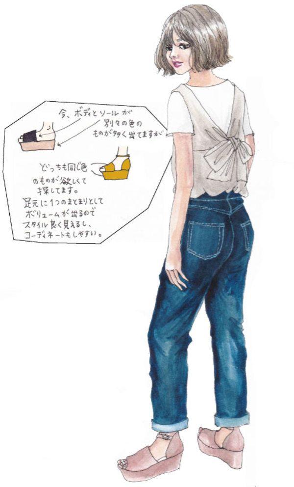 イラストレーター oookickooo(キック)こと きくちあつこが今、気になるファッションアイテムを切り取る連載コーナーです。今週のテーマは「プラットフォームサンダルが欲しい」