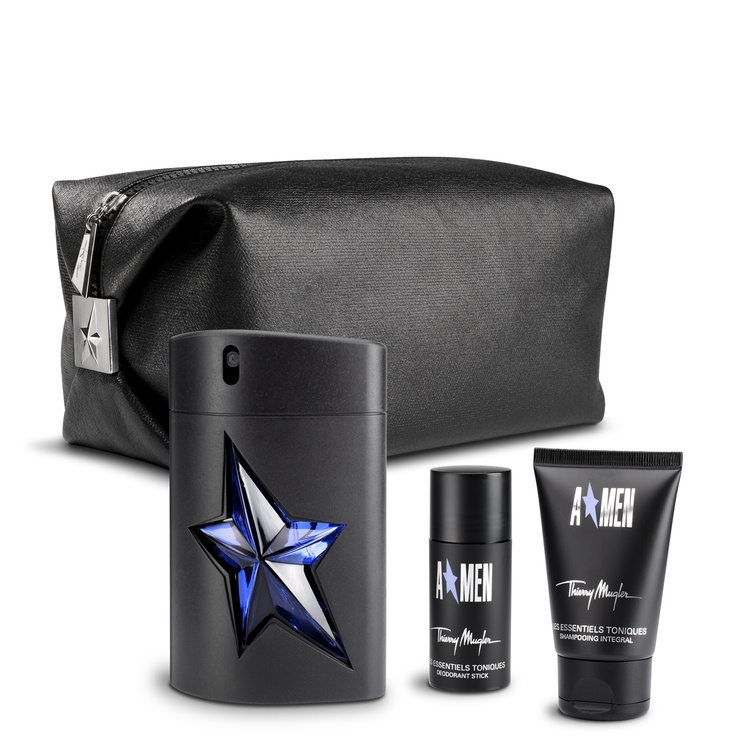 A*Men Essentials Gift Set - A*Men offers a fusion of rich oriental warmth and the explosive powers of roasted coffee. This gift set contains all the A*Men essentials - perfect for any gym bag or weekend away.     This gift set includes:  - A*Men Eau de Toilette Rubber Flask Spray 100ml   - Free A*Men Hair & Body Shampoo 50ml  - Free A*Men Deodorant Stick 20g  - Free black wash bag