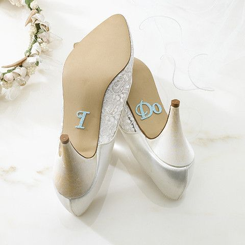 'I Do' Wedding Shoe #Stickers - Sparkly blue stickers that spell 'I Do' that the bride can wear on her big day.   Cute, because when she kneels during the ceremony, the wedding crowd can read the soles of her shoes!  #Cute #Wedding Essentials By Cadeaux - Cadeaux.ie