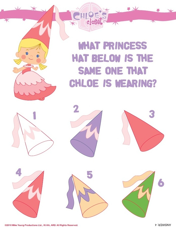 Which princess hat is the same one as Chloe's?