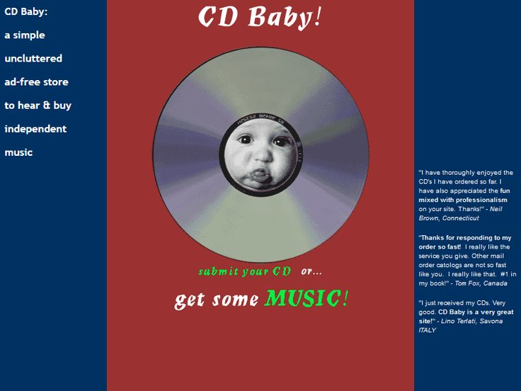 CD Baby website in 1998