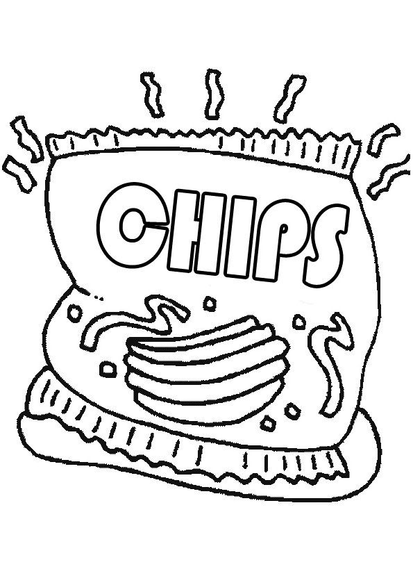 Chips Coloring Page For Kids Coloring Pages Coloring Pages For Kids Coloring For Kids