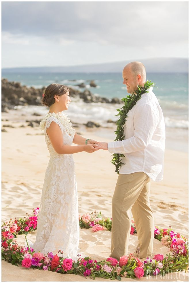 A Pink Flower Circle By Dellables At Maui Beach Wedding Coordinated Simple