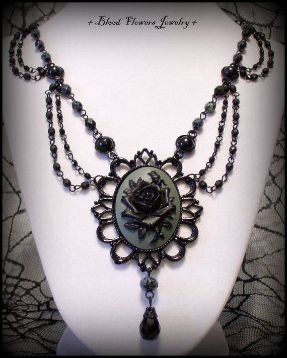 SHADOW ROSE Gothic Victorian Noir Black & Gray by BloodFlowers, $42.00