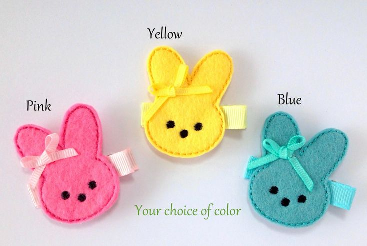 felt hair clips | Marshmallow Bunny Felt Hair Clip Embroidered Hair Clip for Baby ...