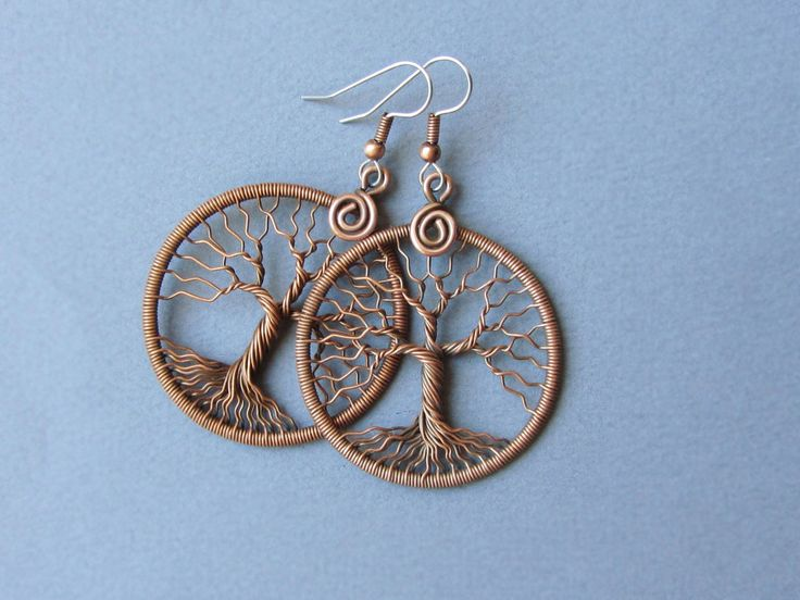 Tree-Of-Life earrings Wire wrapped copper and ear hook