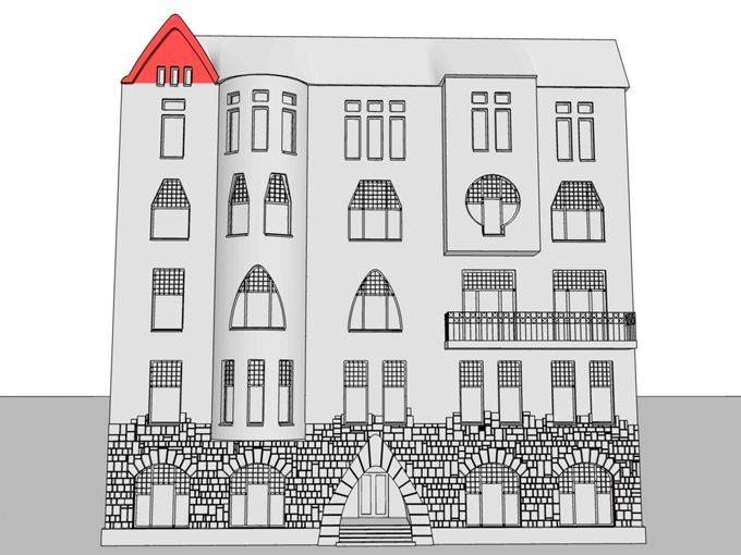 Щипец – верх стены здания, треугольной или сложной формы, ограниченный скатами крыши, и, в отличие от фронтона, не ограниченный снизу карнизом. В этом здании асимметрично расположенный щипец признан разнообразить завершение фасада. Его текучие очертания перекликаются с очертаниями портала.