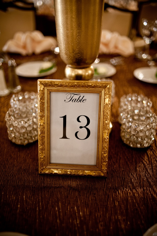 Gold frame table number