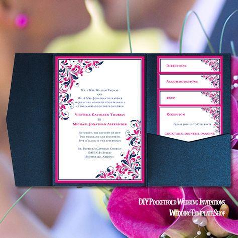 Hot Fuchsia Pink Navy Blue Diy Wedding Invitations Printable Pocketfold Templates Kaitlyn