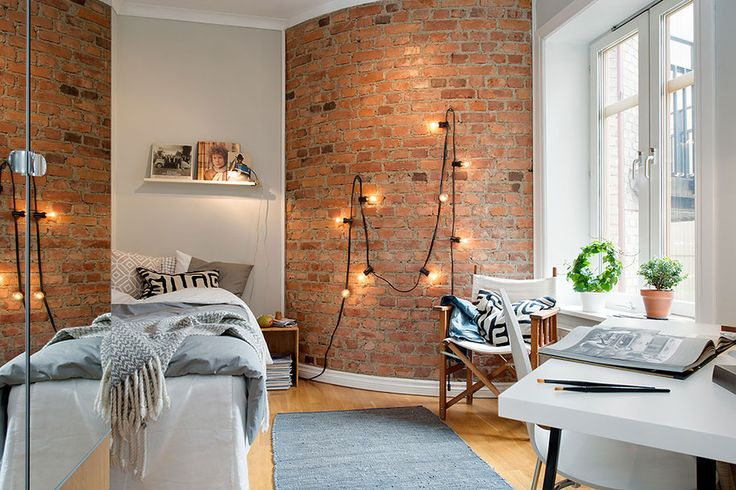 exposed brick wall bedroom, wall light - Google Search