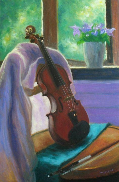 Painting violin still life, original oil painting, hand-painted impressionist…
