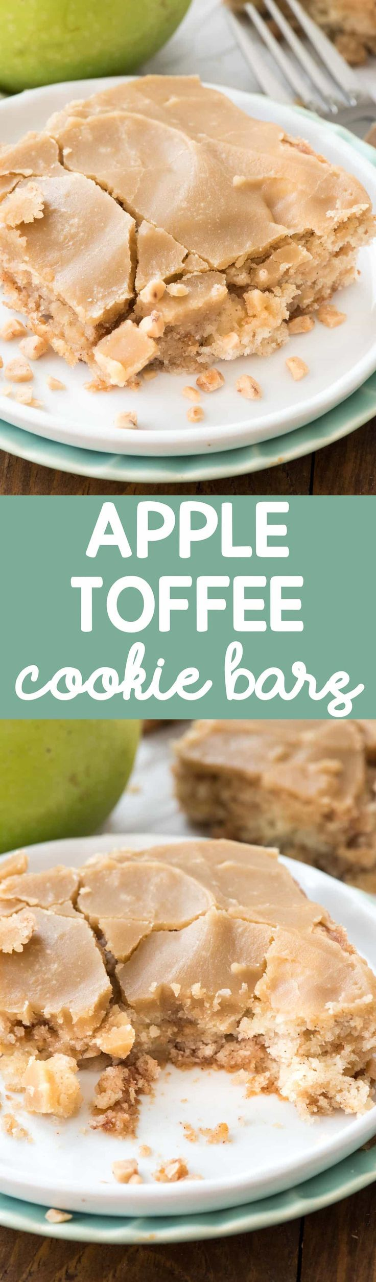 Apple Toffee Bars are made with sugar cookie dough and tons of apples and toffee bits. Then you pour on a brown sugar caramel frosting that makes them one of the best fall dessert recipes EVER!