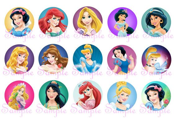 Disney Princess 15 Circle 1 Inch INSTANT DOWNLOAD by DigitalNow, $1.25
