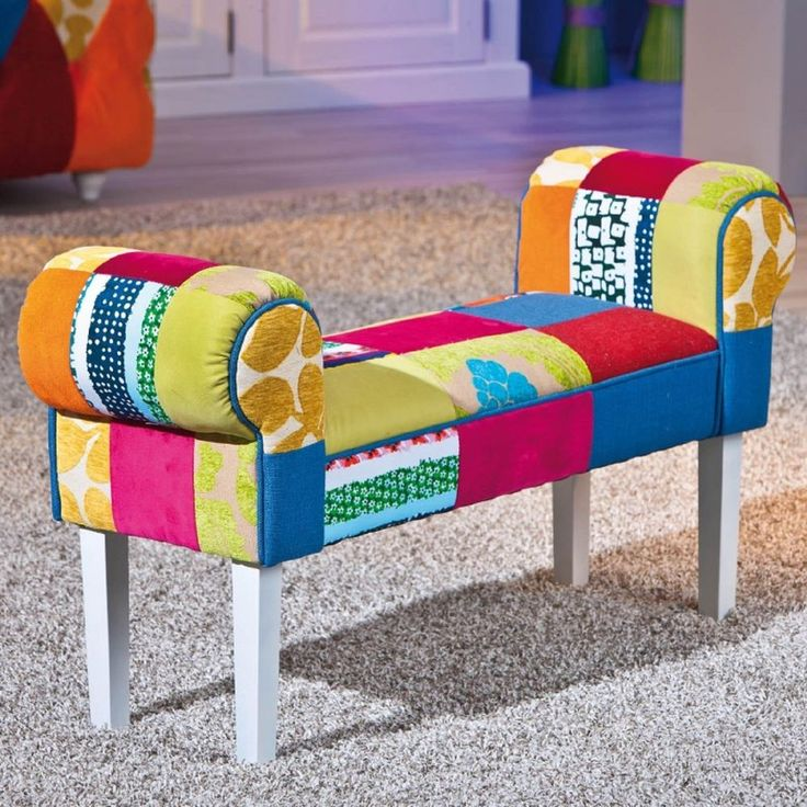 bench patchwork chaise living room modern furniture sofa ottoman lounge 2 seats