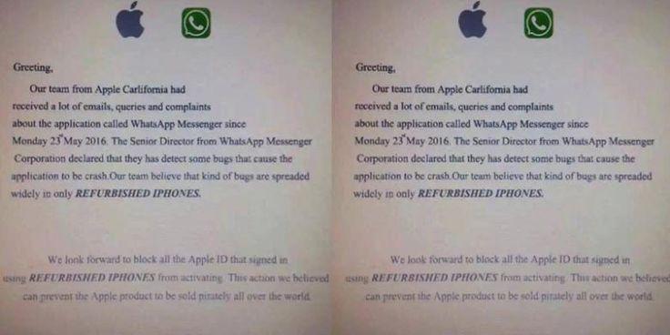 WhatsApp Error Hanya Di IPhone Rekondisi? - http://www.kabartekno.id/whatsapp-error-hanya-di-iphone-rekondisi/  #News