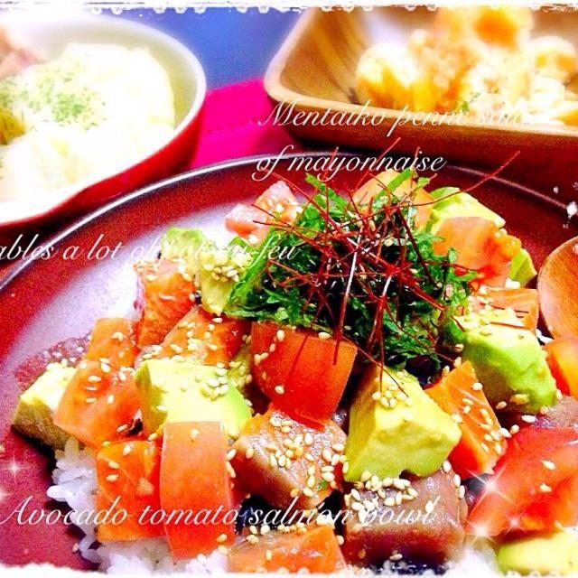 くららさん元気かな-( ´∩⌑・̥̥̥̥̥`) くららさんの素敵なお料理を見れないのが寂しい日々..  そして、リピ♡!のアボトマサーモン丼( •ॢᴗ•ॢ⋈) これを作ると次男くんがガッツガツ食べます(˃̴̀ᄇॢ˂̴́ ∗)੭᷅ʊʊ  他♡ポトフ ♡明太マヨのペンネサラダ  くららさん今日もおいしいrecipeごちそうさまでした୧⃛(๑⃙⃘◡̈๑⃙⃘)୨⃛  今、写真を作りながら、スライスオニオンをのっけるの忘れたことに気づいた...(˃᷄ꇴ˂᷅ ૂ๑) - 137件のもぐもぐ - くららさんのアボトマサーモン丼♡ by ritorona