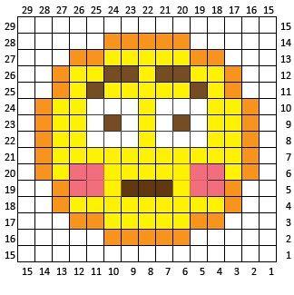Embarrassed Emoji C2C square and pixel graph - Repeat Crafter Me