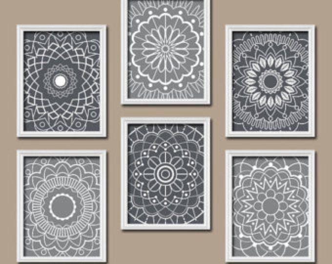 Wood Design Wall Art, Bedroom Wall Decor Canvas or Prints Bathroom Decor, Doilies Mandala Wall Art, Medallion Set of 4 Wood Home Decor