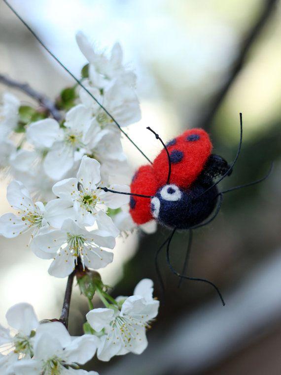 Needle Felt Ladybug   Little Felt Ladybug  by FeltArtByMariana