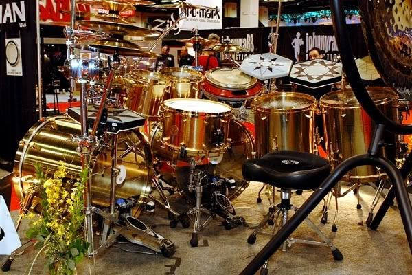 Danny Carey's all-bronze drum kit made completely out of recycled cymbals