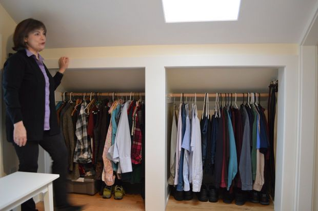 Storage and closets fill down-sloping ceiling spaces