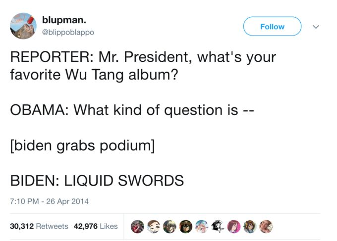 "Joe Biden ""Liquid Swords"" Tweet 