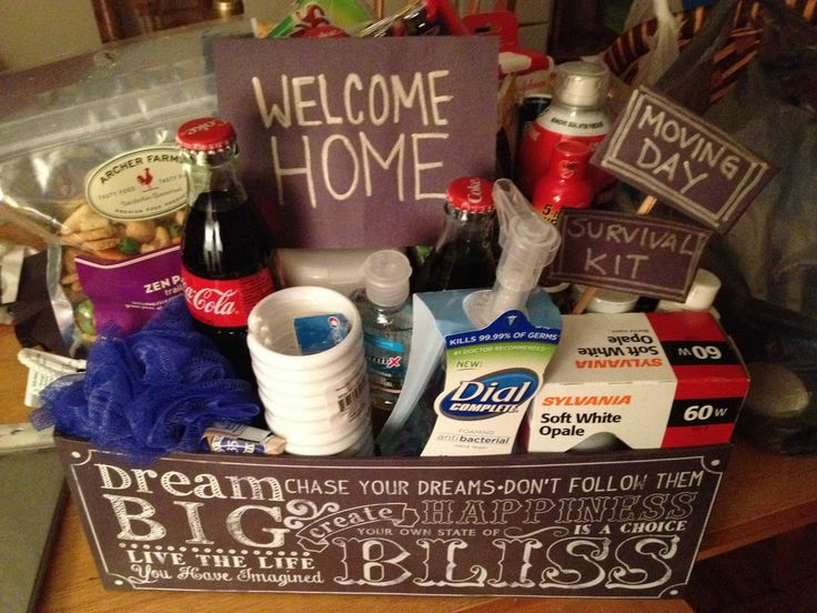 I need to make a move in gift basket for our renters  With stuff from the  dollar store  Find this Pin and more on Welcome Home Baskets  9 best Welcome Home Baskets images on Pinterest   Basket ideas   of Gift Basket Ideas For Welcome Home