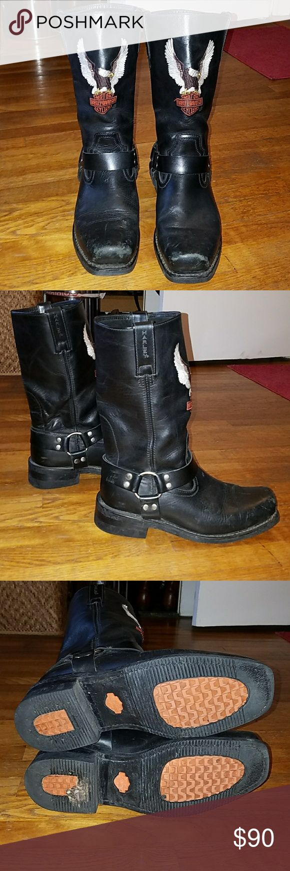 Harley Davidson Motorcycle Boots Excellent used condition Harley boots with years of sole left. Leather is still stiff with light scuff marks on toe part. Style 91002 Harley-Davidson Shoes Boots