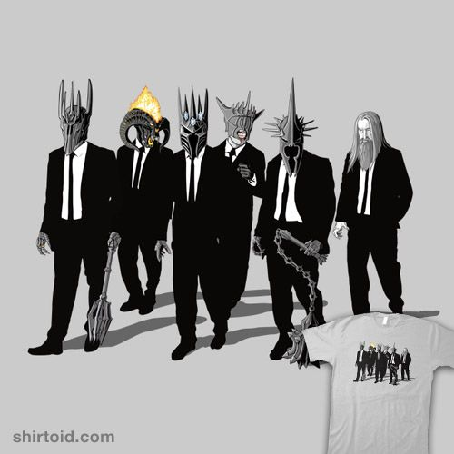 Reservoir Lords (Mace variant) | Shirtoid #balrog #book #film #jrrtolkien #morgoth #mouthofsauron #movie #reservoirdogs #samiel #saruman #sauron #thelordoftherings #witchkingofangmar