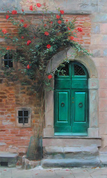 """""""Climbing Roses - Cortona, Italy"""" - 20x12 - oil on linen - SOLD. Landscape painting by Anna Rose Bain. #Italy #Cortona #Door"""