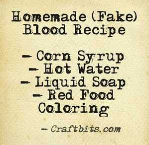 Homemade Fake Blood — craftbits.com #halloween  (Basic Fake Blood Recipe that my sister used for one of her presentations.  **Thumb up** for actually liking gore.)