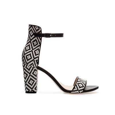 Zara Wide-Heel Sandal With Ankle Strap, $80