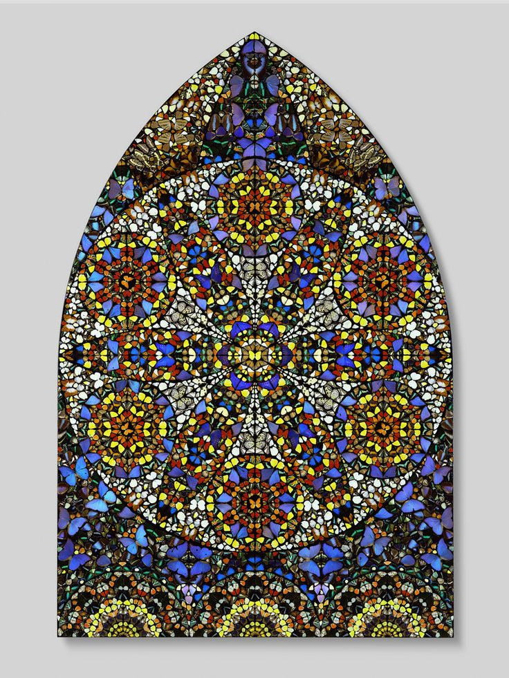 """Damien Hirst, """"Observation - The Crown of Justice"""" - 2006. Butterflies and household gloss on canvas, 2803 x 1830 mm 