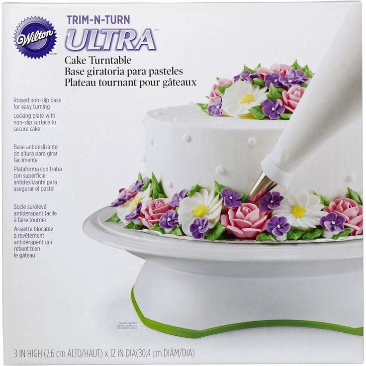 Make it easy to decorate all the way around your cake with the Trim 'n Turn Ultra Cake Turntable. Great for both left-handed and right-handed decorators, the rotating cake stand turns smoothly clockwise and counterclockwise on a hidden ball-bearing track and also easily locks in place when desired for steady lettering and delicate flowers.