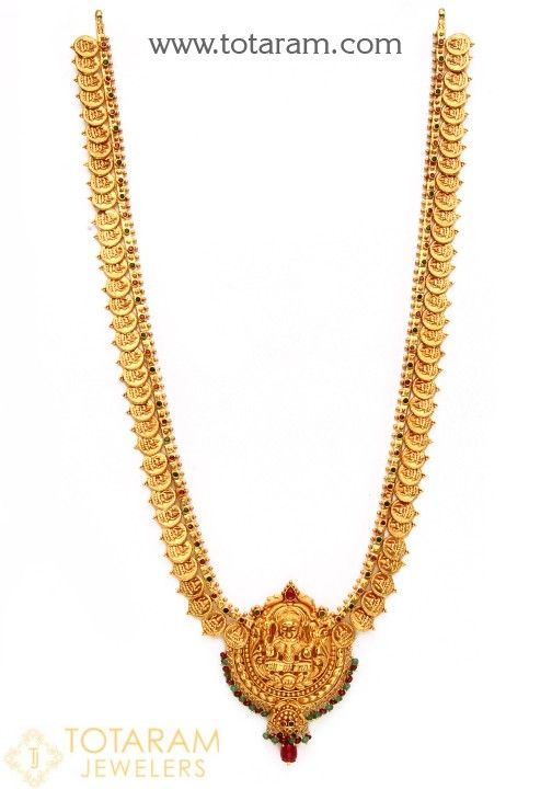 22K Gold 'Lakshmi Kasu' Long Necklace with Beads & Color