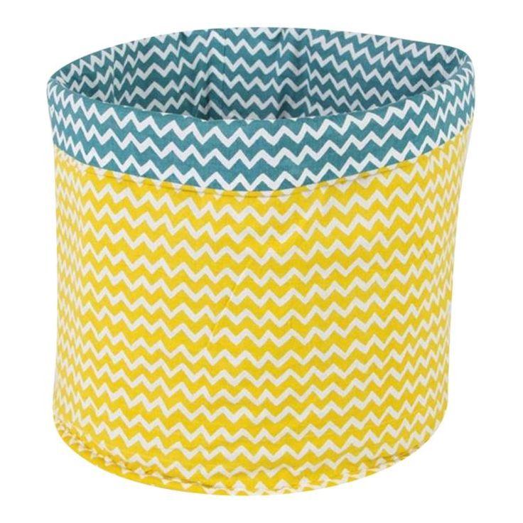 opbergmand geel met petrol blauw 32 cm - Ikbenzomooi.nl  Babykamer ...
