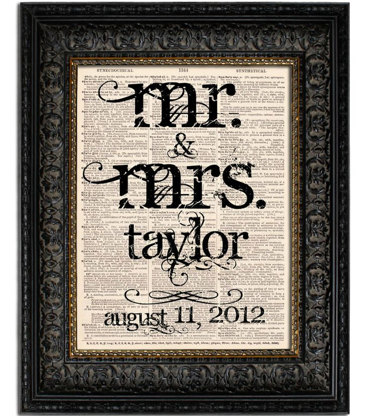 Custom Wedding Gift Mr. and Mrs. Last Name with Wedding Date WEDDING SIGN art print on Vintage Dictionary Page 8x10 Book Page Print. $12.00, via Etsy.