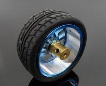 Métal de roue 65 mm pneu de voiture intelligente robot pneu roues en alliage d'aluminium bricolage modèle jouet de roue en caoutchouc + couplage(China (Mainland))