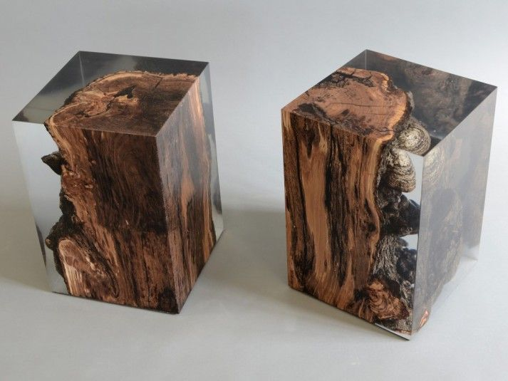 Fungi Stool in epoxy and wood www.alcarol.com